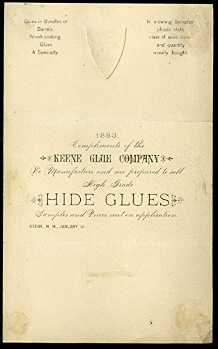 Keene Glue Company Hide Glue folding postal mailer 1883 with 1c stamp