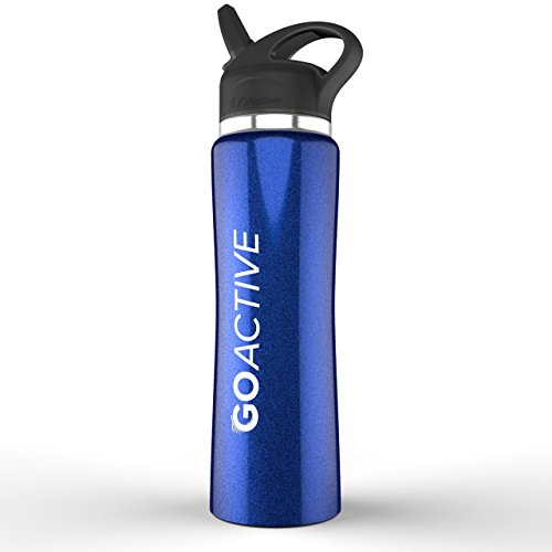 GO Active Stainless Steel Insulated Sport Bottle- Features Premium lid with Straw (Cobalt Blue, 24 oz)