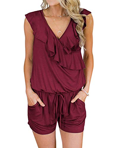 TECREW Women's Summer V Neck Ruffles Sleeveless Jumpsuit Elastic Waist Short Rompers with Pockets Wine Red ()