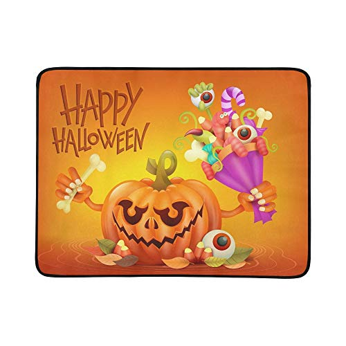Happy Halloween Concept Card Pumpkin Scary Portable and Foldable Blanket Mat 60x78 Inch Handy Mat for Camping Picnic Beach Indoor Outdoor Travel ()