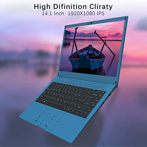 Laptop 14 inch, VUCATIMES 14\'\' FHD Laptop, Intel Celeron Quad-Core, 6GB RAM 128GB SSD, Dual Band Wi-Fi Laptop Computer, Removable Webcam, Numeric Keypad, Blue
