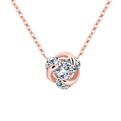 Cubic Zirconia Necklace Off (UinqueVous Sterling silver Pendant Woman Floral Necklace with Cubic Zirconia (Rose Gold))