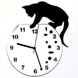 Peize HOT!!! Classic Cat Acrylic Clock Wall Clock Modern Design Home Decor Watch Wall Sticker (Black 1)