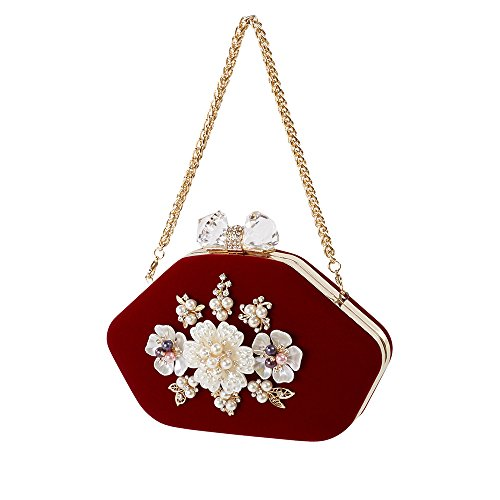 EveningSimple Handmade Qsm ClutchBride But Red MonotoneBlue HandbagPearl Fashion Not Yvyf67bg