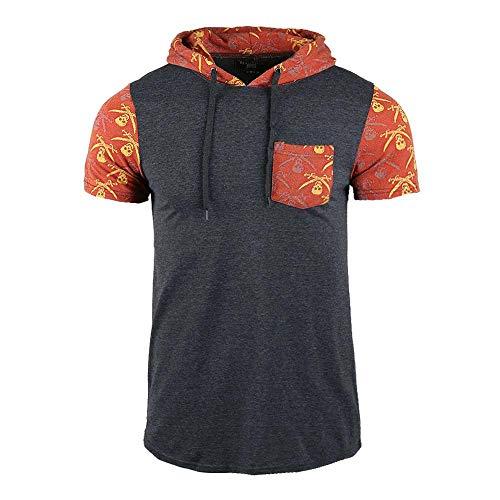 (Beautiful Giant Men's Hooded Short Sleeve Comfort Soft Pocket Hoodie T-Shirt(L,Charcoal-117))