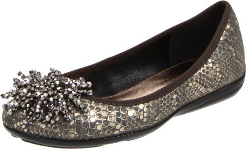 Caressa Womens Clifton Ballet Flat Platinum Metallic Viper 6w2pYtE0