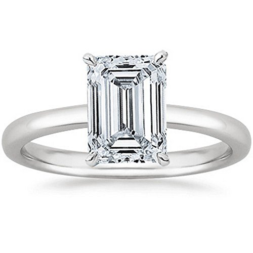 0.51 Carat Emerald Cut Solitaire Diamond Engagement Ring (H Color IF Clarity Center Stones) ()