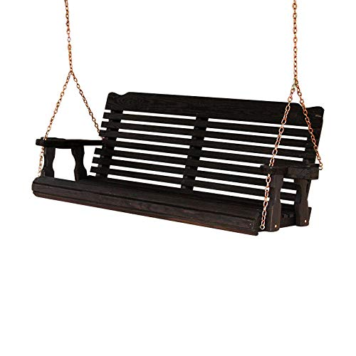Amish Heavy Duty 800 Lb Classic Treated Porch Swing with Hanging Chains and Cupholders 5 Foot, Semi-Solid Black Stain