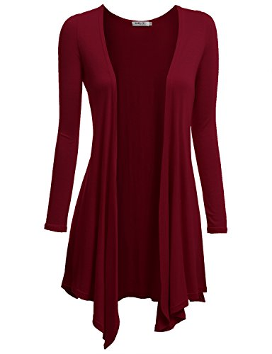 Doublju Womens Long Sleeve Cardigan Draped Open Front Cardigan (S - 3XL)