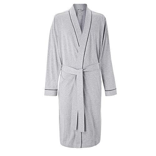 HOLOVE Cotton Bathrobe for Mens Long Sleeve Woven Kimono Robe (Grey S/M)