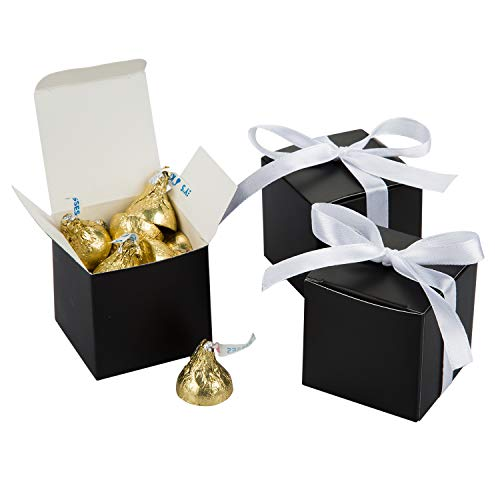 - AWELL Black Gift Candy Box Bulk 2x2x2 inches with White Ribbon Party Favor Box,Pack of 50