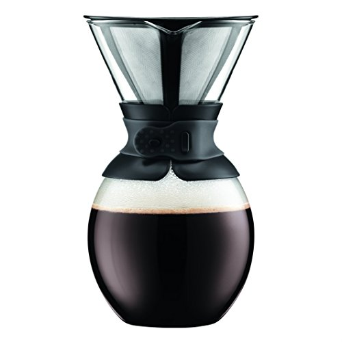 BODUM 11593-01S, 51 Ounc, Pour Over Coffee Maker with Permanent Filter, Black Band, 51 Ounce