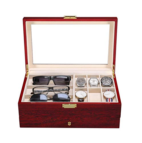Watch Box for Men Luxury Watch Display Organizer 2 Layers Jewellery Cufflink Storage Box with Drawer 6 Removable Cushions and Glass Lid,Red