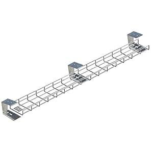 Direct Channel - Bandeja de rejilla portacables larga para colocar debajo del escritorio, con soporte y tornillos, plateada.