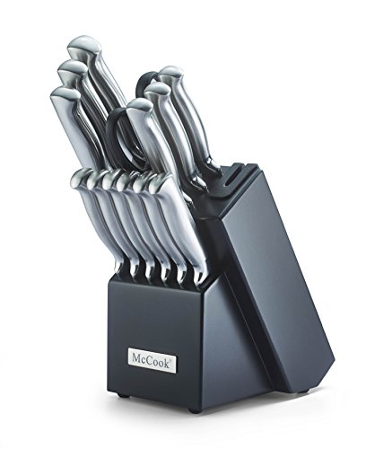 McCook MC21 14 Pieces FDA Certified Stainless Steel Hollow Handle Kitchen Knife Set in Hard Wood Block with Built-in Sharpener(Stainless Steel)