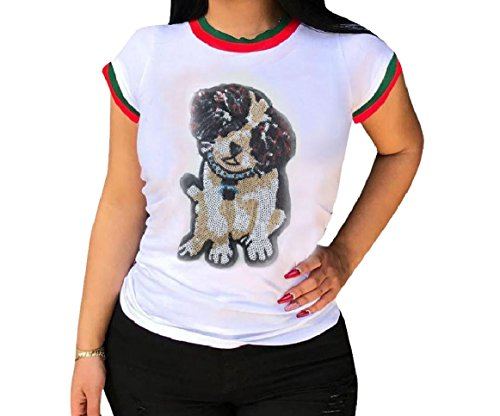 Abetteric Womens Short Sleeves Pinstripe Graphic Print Sequin Glitter Tunic Tshirt Tops White L (Glitter Top Print)