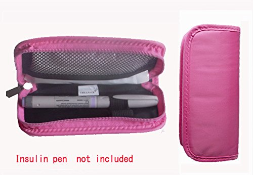Diabetic Insulin Pen /Syringes Cooler Pocket Case- 2pc Ice Packs Included (Pink)