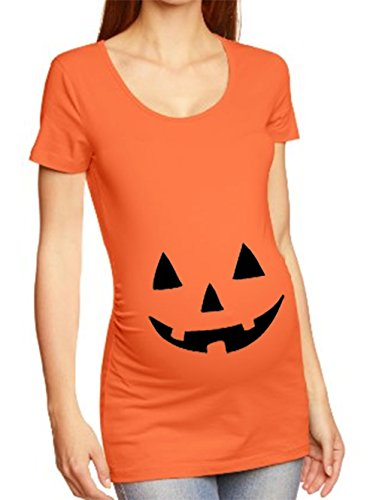 BOTTOM NEAR BELLY Jack O' Lantern Pumpkin Print GIRLS T-SHIRT, Orange, Juniors Fitted X-Large (Halloween Costume Near Me)