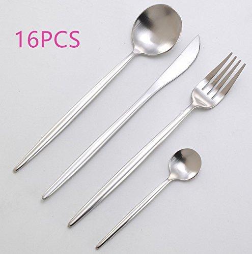 Cutlery Set Stainless Steel,Flatware Set for 4 Person, Kitchen Silverware Cutlery Tableware Dinnerware Anti-rust Utensil Set, Steak Knife Set