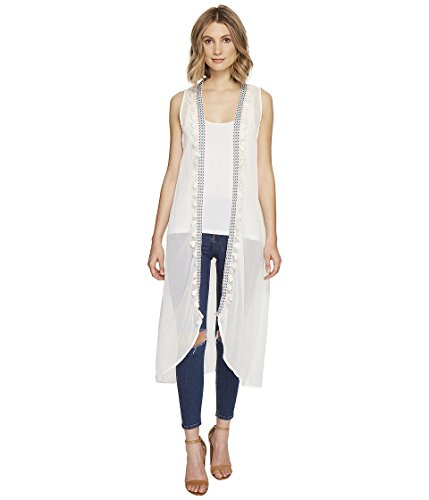 Boho-Chic Vacation & Fall Looks - Standard & Plus Size Styless - Steve Madden Women's Long Vest Coverup With Tassels, Ivory, One Size