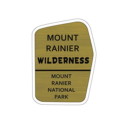 Mount Rainier Wilderness Trail Sign Vinyl Sticker - WA Hiking/Camping Decal for Car, Laptop, and Water - Mt Trail Rainier National Park
