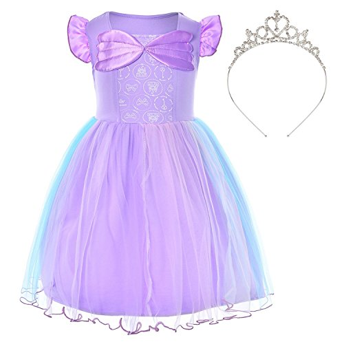 Little Mermaid Princess Ariel Costume for Toddler Girls With Crown 18-24 Months ()