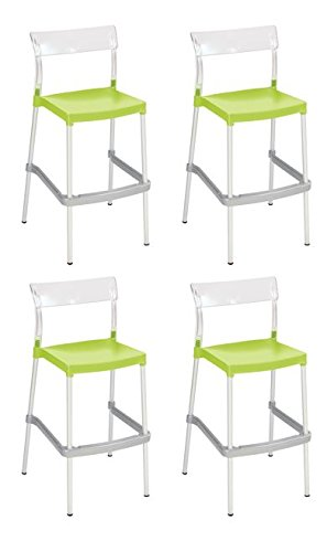 Tensai Madrid Bar Stool - Durable Plastic in Transparent with Lemon Seat - Set of 4