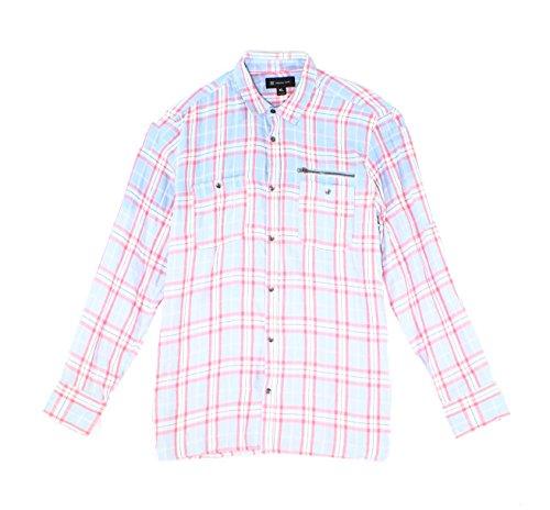 INC International Concepts Mens Button Front Ombre Plaid Cotton Shirt (Lightning, (Ombre Plaid Short)