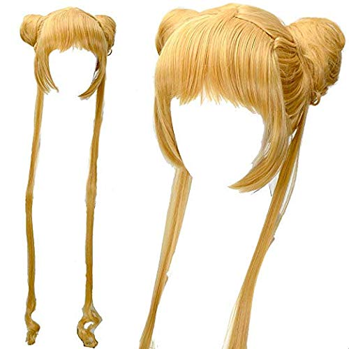 Long Golden Blonde with Two Ponytails Synthetic Wig Sailor Moon Anime Cosplay -