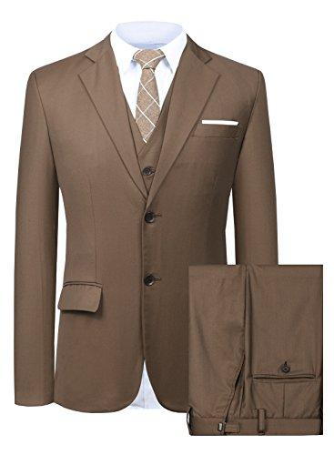Men's Suit 3 Piece Busines Classic Solid Regular Fit Blazer Coat Vest Pants Set(Deep Brown,46)