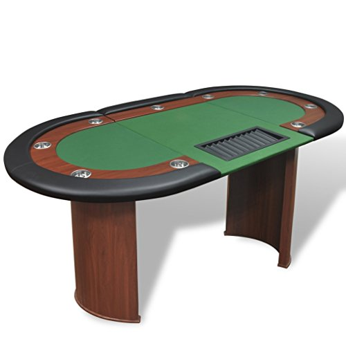 Festnight 10-Player Poker Casino Game Table with Dealer Area, Cushioned Rail and Chip Tray, Blue/Green