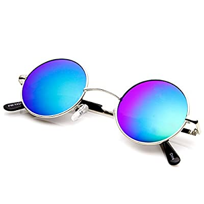 zeroUV - Retro Round Sunglasses for Men Women with Color Mirrored Lens John Lennon Glasses