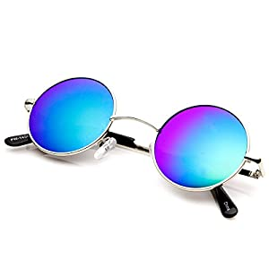 zeroUV - Lennon Style Small Round Circle Sunglasses for Men with Color Mirrored Lens (Silver/Ice)