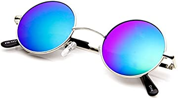 zeroUV - Lennon Style Small Round Color Mirrored Lens Circle Sunglasses (Silver Ice)