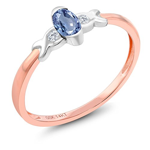 Tone Two Gold Sapphire 14k (14K Two Tone Gold 0.28 Ct Blue Sapphire and Diamond Engagement Ring)