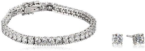 Platinum-Plated Sterling Silver Swarovski Zirconia Tennis Bracelet and 1 cttw Stud Earrings Set (725 Bracelet Silver Jewelry Sterling)