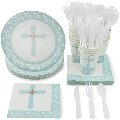 (Disposable Dinnerware Set - Serves 24 - Religious Party Supplies for Baptism, Church Events, Includes Plastic Knives, Spoons, Forks, Paper Plates, Napkins,)