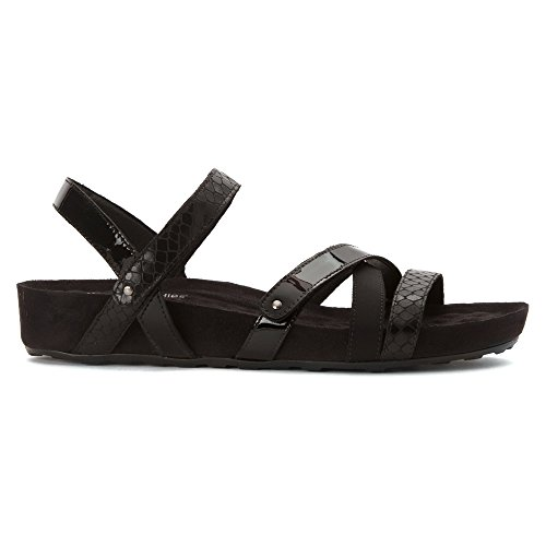 Camminando Culle Womens Piscina Sandalo Piatto Nero Multi Pelle / Pelle Scamosciata