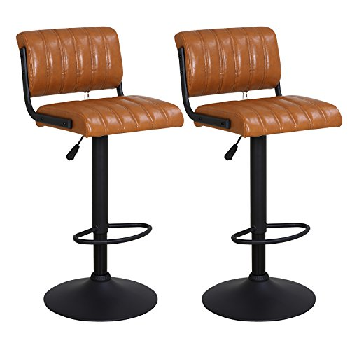 LCH 24 – 33 PU Leather Adjustable Bar Stools, Stylish Counter Height Swivel Bar Stool Chairs with Backrest, Set of 2 Brown