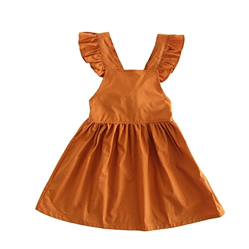 KAKAKI Baby Girls Ruffle Jumper Dress Suspender Skirts Pinafore Toddler Dress Pumpkin,80