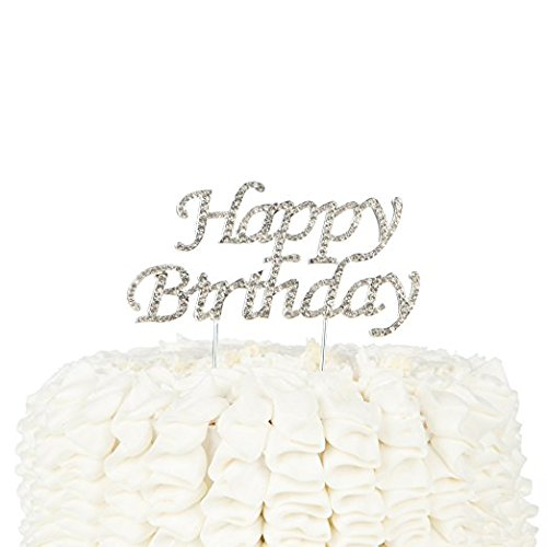 LAttLiv Happy Birthday Crystal Rhinestone Cake Topper, Silver