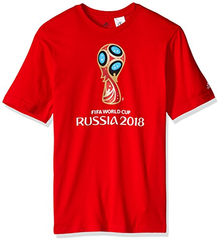 adidas World Cup Soccer World Cup Emblem Youth Boys World Cup Emblem Tee, Large, Red