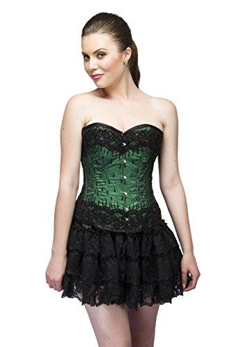 動かない保安真珠のようなGreen Satin Black Sequins Gothic Burlesque Waist Cincher Bustier Overbust Corset