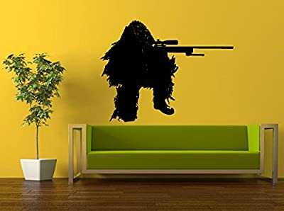 Wall Decal Vinyl Sticker Decals Peal And Stick Cheap Decor Art Army Navy Military Soldier Camouflage Man Sniper Shooter Gun Rifle L387