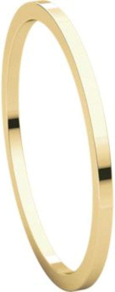 Bonyak Jewelry 18k Yellow Gold 1 mm Flat Band Size 11