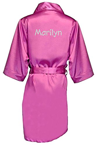 Women's Orchid Satin Custom Name in Glitter Robe S/M -