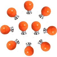 CSKB Orange Ceramic Round Candy Shape lovely Handle Pull Knobs Door Cupboard Locker for kids room Drawer,Cabinet,Chest, Bin, Dresser, Cupboard, Etc with Screws