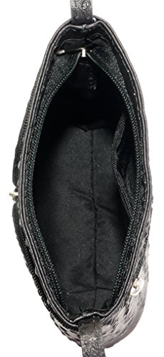 lisse Autruche nbsp;Comprend main de d'autruche ou finition main marque sac fait Croix corps ou cuir à rangement protecteur Noir Effet italien en un sac petite CqtgFFw