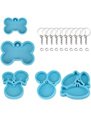 SAVITA 5pcs Dog Bone Silicone Resin Molds Crafts and 10pcs Key Chain for Crafts Making, Dog Bone Cat Fish Decoration Tag, Baking Molds for Biscuits Cake
