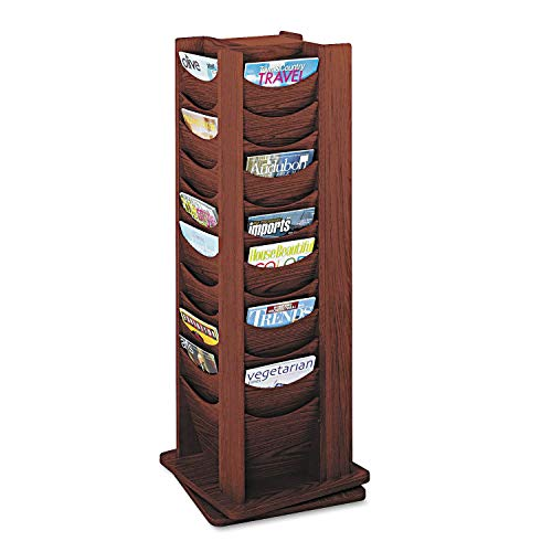 Safco Products 4335MH Solid Wood Rotating Display, 48 Pocket, -